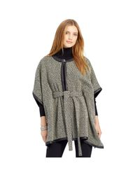 Pink Pony - Black Leather-trim Wool-blend Poncho - Lyst