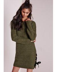 Missguided | Green Chunky Eyelet Side Oversize Tunic Khaki | Lyst