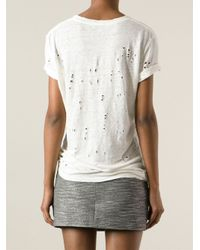 IRO - White Distressed Detail T-shirt - Lyst