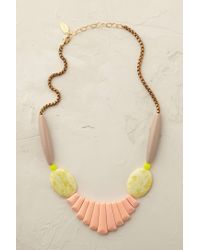 Anthropologie | Pink Peach Jade Bib Necklace | Lyst