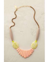 Anthropologie | Pink Peach Jade Bib Necklace | Lyst