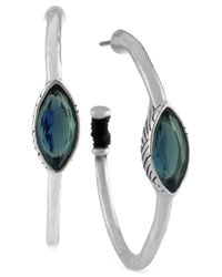 The Sak - Metallic Silver-tone Blue Stone Hoop Earrings - Lyst