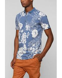 Urban Outfitters - Blue Zanerobe Floral Polo Shirt for Men - Lyst