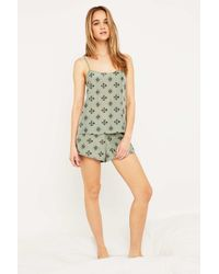 Urban Outfitters | Green Print Pyjama Top | Lyst