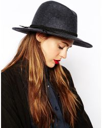 ASOS - Gray Marl Braid Felt Fedora Hat - Lyst