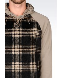 Emporio Armani - Natural Hooded Sweatshirt With Check Pattern for Men - Lyst