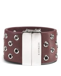 COACH - Red Hinged Leather Grommet Bangle - Lyst