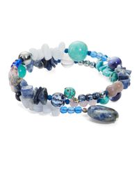 Lord & Taylor | Blue Turquoise Semi-Precious Stones And Sterling Silver Wrap Bracelet | Lyst