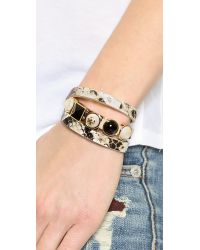 Tory Burch - Triple Wrap Bracelet - Natural/Shiny Brass - Lyst