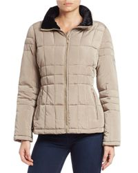 Calvin Klein | Natural Faux Fur-trimmed Quilted Coat | Lyst