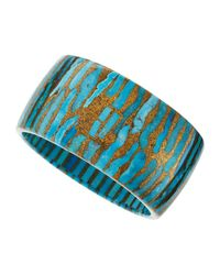 Devon Leigh - Metallic Cobbled Copper Turquoise Bangle - Lyst