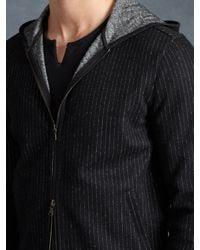 John Varvatos - Black Wool Stripe Knit Hoodie for Men - Lyst