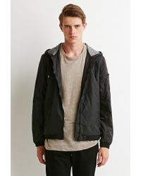 Forever 21 - Black Hooded Bomber Jacket for Men - Lyst