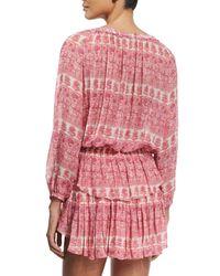 LoveShackFancy - Pink Printed Ruffle-skirt Popover Dress - Lyst