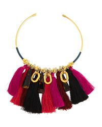 Lizzie Fortunato | Metallic Crimson Tassel Collar Necklace | Lyst