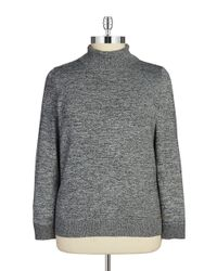 Calvin Klein | Black Plus Heathered Knit Turtleneck | Lyst