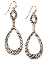 INC International Concepts | Pink Rose Gold-Tone Black Crystal Teardrop Earrings | Lyst