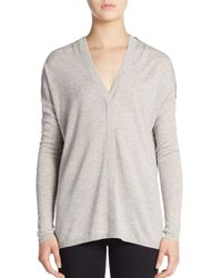 VINCE | Gray Colorblock V-neck Wool-blend Sweater | Lyst