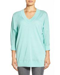 Nordstrom Collection - Blue Dolman Sleeve V-neck Cashmere Sweater - Lyst