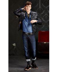 BOSS Orange | Blue Slim Fit Casual Cotton Shirt 'edaslime' for Men | Lyst