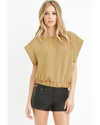 Forever 21 - Green Contemporary Slit-back Elasticized Top - Lyst