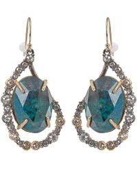 Alexis Bittar - Metallic Crystal Embellished Rose Cut Chrysocolla Drop Earrings - Lyst
