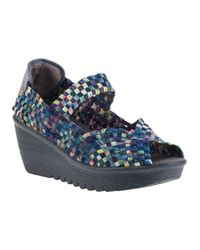 Bernie Mev | Hallie Wedge Blue Camo Multi Fabric | Lyst