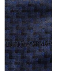 Emporio Armani - Blue Silk Blend Scarf for Men - Lyst