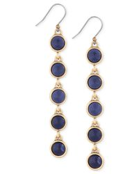 Lucky Brand | Metallic Gold-tone Blue Stone Linear Drop Earrings | Lyst