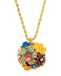 Kenneth Jay Lane - Multicolor Floral Ball Pendant Necklace - Lyst