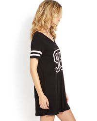 Forever 21 | Black Halftime Jersey Sleepshirt | Lyst