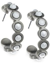 T Tahari - Metallic Embedded Faux Pearl Hoop Earrings - Lyst