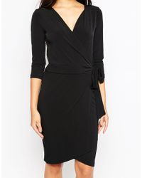 Ichi - Black 3/4 Sleeve Wrap Front Dress - Lyst