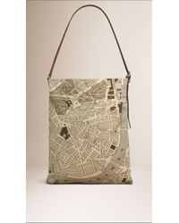 Burberry - Multicolor London Map Cotton Shoulder Bag - Lyst
