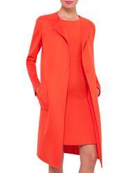 Akris - Orange Jewel-neck Double-face Cashmere Coat - Lyst