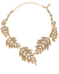 Oscar de la Renta - Orange Marquise Resin Leaf Necklace - Lyst