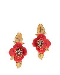 Oscar de la Renta - Red Painted Flower Earrings - Lyst