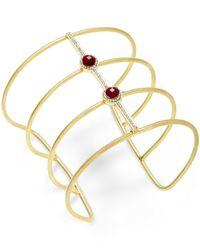 INC International Concepts - Metallic Gold-tone Mauve Stone Open Wire Cuff Bracelet - Lyst