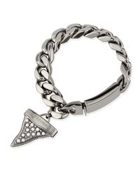 Givenchy | Metallic Gunmetal Shark Tooth Bracelet With Pearls | Lyst