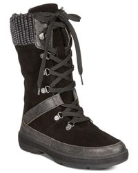 BEARPAW - Black Serena Lace-up Cold Weather Hiking Booties - Lyst