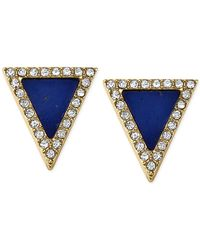 Michael Kors | Metallic Gold-Tone Lapis Triangle Stud Earrings | Lyst