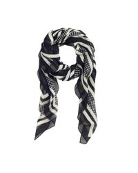 J.Crew | Blue Stripes-and-dots Scarf | Lyst