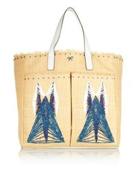Anya Hindmarch | Blue Nevis Leathertrimmed Straw Tote | Lyst