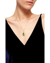 Arman Sarkisyan - Metallic Gold La Fleur Oval Locket With Emerald Center - Lyst