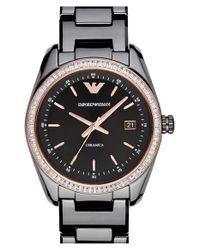 Emporio Armani - Black Crystal Bezel Ceramic Bracelet Watch - Lyst