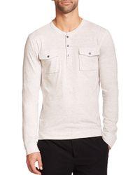 Vince - White Long Sleeve Two-pocket Henley for Men - Lyst