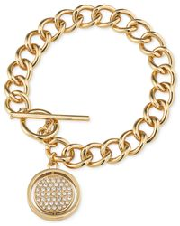 Carolee | Metallic Gold-tone Pavé Disk Toggle Charm Bracelet | Lyst