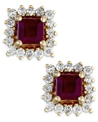 Macy's | Brown Ruby (3/4 Ct. T.w.) And Diamond (1/3 Ct. T.w.) Stud Earrings In 14k Gold | Lyst
