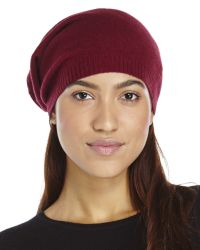 Qi | Red Knit Cashmere Slouchy Beanie | Lyst