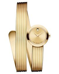 Movado - Metallic 'museum Wrap' Grooved Bangle Watch - Lyst